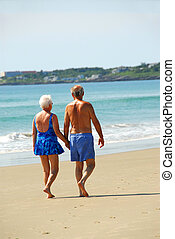 Happy retired couple taking a walk on a beach holding hands