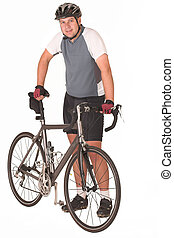 Cycling - Cyclist holding his bicycle