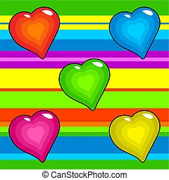 funky retro hearts - bright and colourful hearts background