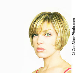 Blonde Woman - Beautiful blond woman with bob cut hairstyle