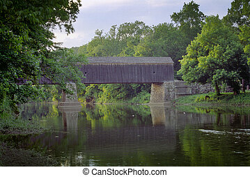 Covered Bridge Rvr - Covered Bridge and river in Tyler Park...