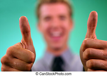 Business thumbs up 3 - Business man is holding both thumbs...