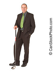 Business golfer - Businessman lloking forward to a round of...