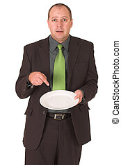 Hungry - Businessman wondering how to put food on the table