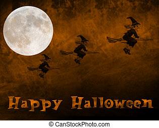 halloween2 - flying witches against a burnt smokey sky with...