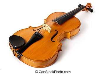 Violin isolated on white background - abstract music concept