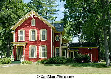 Red Farm House - An old farmhouse in the country with red...