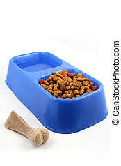 dog food - dog  tray with food and water and bone treat