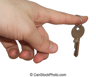 Key 2 - hand with key on white background, clipping path...