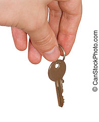 Key 4 - hand with key on white background, cliping path...