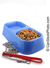 dog food and leash - dog tray with food and water and leash...