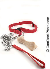 dog leash and bone - dog leash chain and dog buiscuit with...