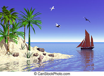 Tropical island - A tranquil tropical island set in the blue...