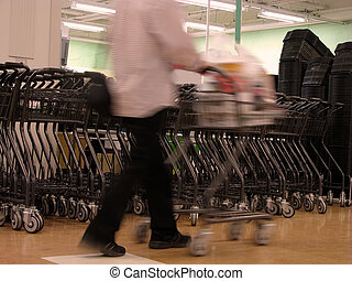 Shopping abstract - Motion blur abstract of a man with...