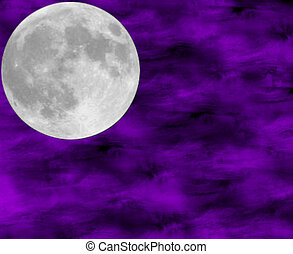 moon - full moon against a purple sky background