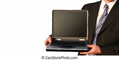 Business man with laptop 20 - Business man in black suit,...