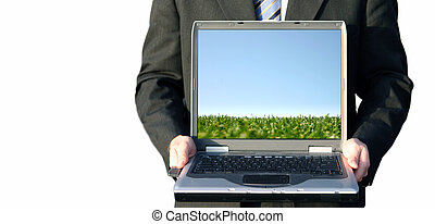 Business man with laptop 21 - Business man with black suit,...