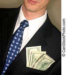 Money in your pocket 2 - Business man in black suit and blue...
