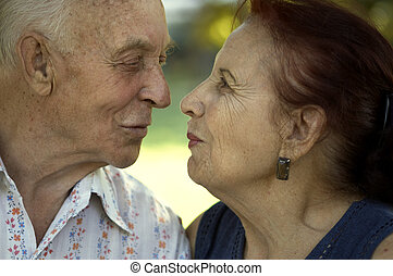 love in any age - seniors in love(focus point on the...