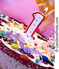 First birthday - Birthday cake with candle, close up
