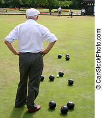Seniors playing bowls - Senior citizens enjoying game of...