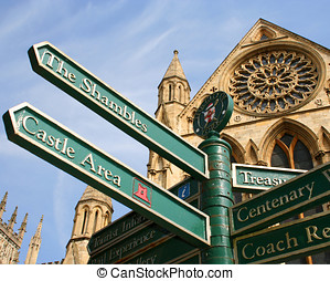 York city attractions - Sign post in front of York Minster.
