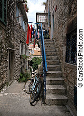 stairway to house - stairway to residence with bicycle...