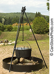 Beach party cooking pot - Big iron cooking pot ready to cook...