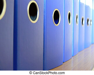Office - Row of blue ring binders