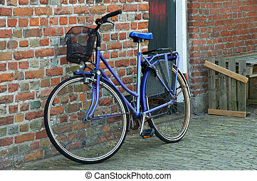 Parked bicycles - Typical dutch, holland colorful bicycle...