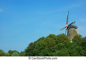 Picturesque scene, old windmill.