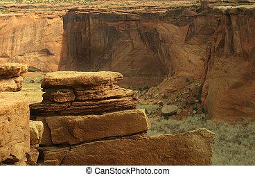 Canyon de Chelly - Evening light at Canyon de Chelly, a...