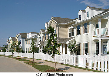 Row Of Suburban Townhouses - Long row of suburban townhouses...