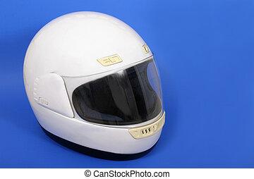 Motorcycle Helmet - White full face motorcycle helmet on a...