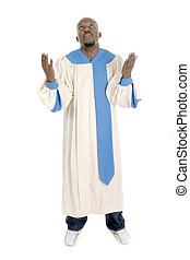 Man Worshipping 1 - Man wearing a choir robe looking upward...