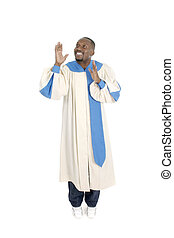 Man Worshipping 2 - Man wearing a choir robe holding hands...