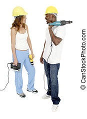 Tool Girl and Guy 4 - Attractive working woman and man...