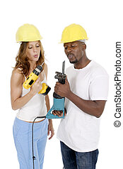 Tool Girl and Guy 1 - Attractive working woman and man...