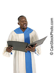 Choir Member Singing 1 - Handsome male church choir member...