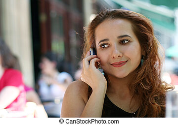 Girl with a phone - Young woman with a phone