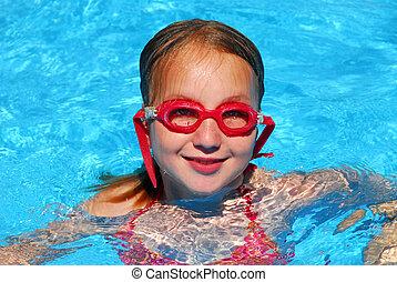 Girl swim pool