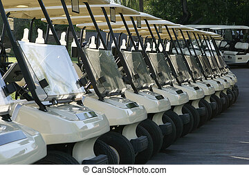 Golf Carts - A row of golf carts are lined up at the...