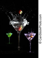 Martini colors - Three martinis in different colors and with...