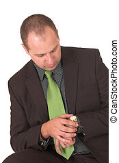 Time 2 - Business man looking at watch