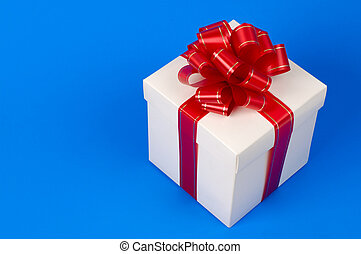 Fancy gift box - White fancy gift box with red ribbon -...