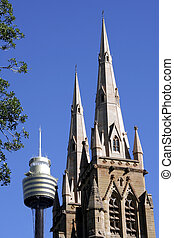 St Marys Cathedral and Sydney Tower, Sydney - St Marys...