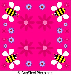 funky retro bees - bumble bee background