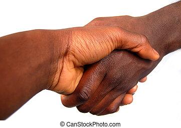 grande, apretón de manos