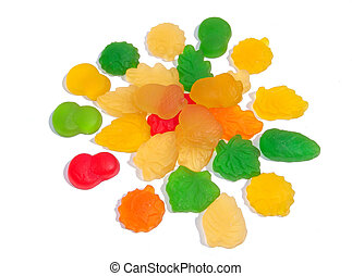 Sweetmeats - Varicoloured sweetmeats on white background
