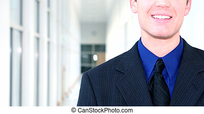 Business leader 8 - Business man wearing blue suit, blue...